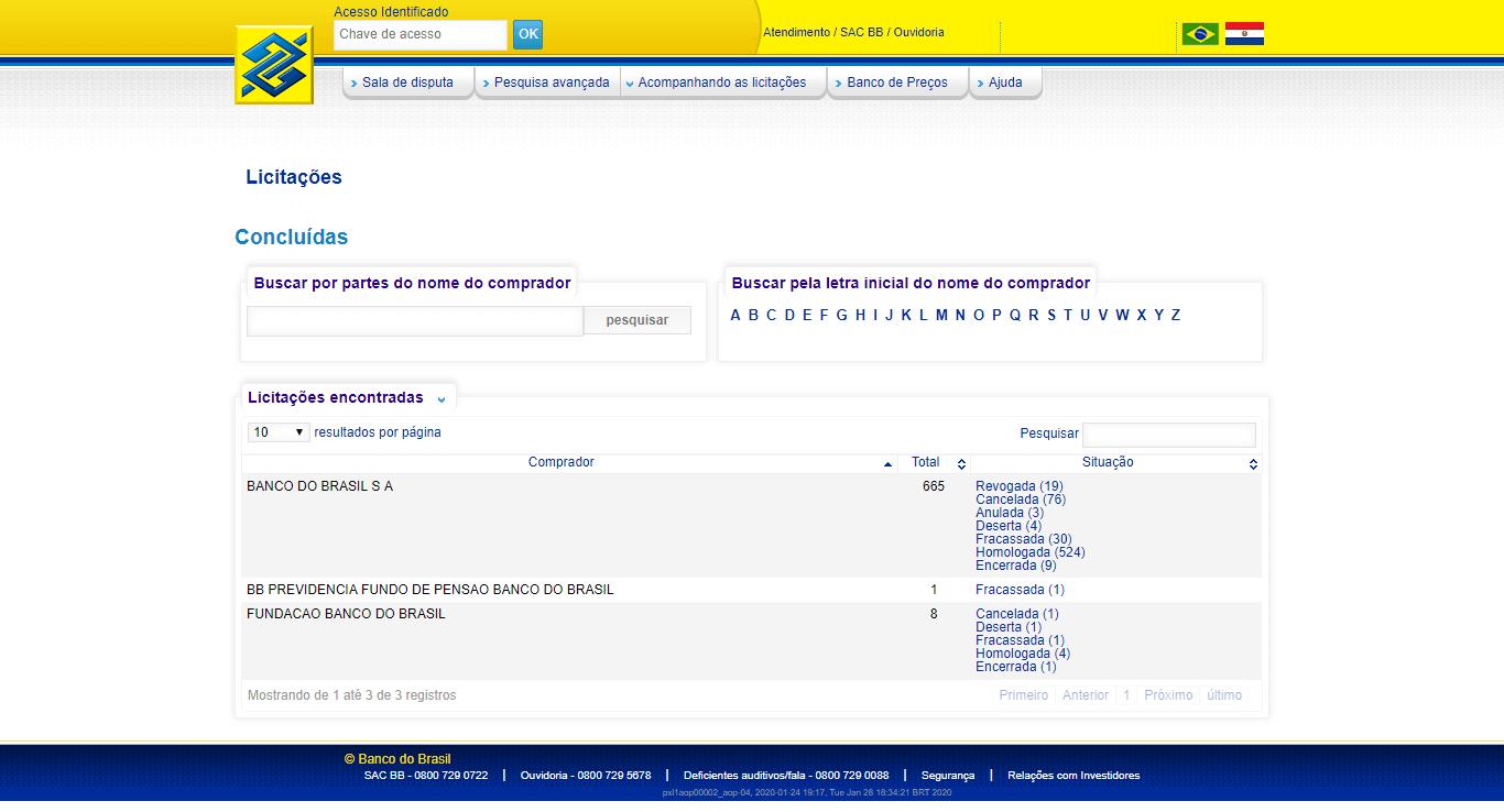 licitações banco do brasil
